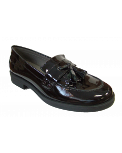 Geox Agata black patent leather tassle school shoes