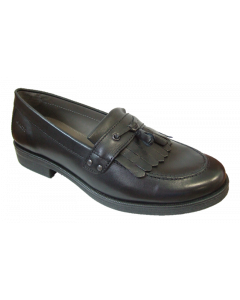 Geox Agata Black Leather School Shoe