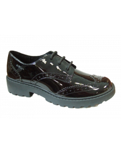 Geox Casey black patent lace brogue