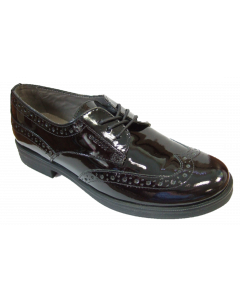 Geox Agata Black Leather Brogue School Shoes