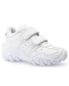 Geox Crush Plain White Leather School Trainers