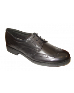 Geox Agata Black Leather Lace-Up School Shoes