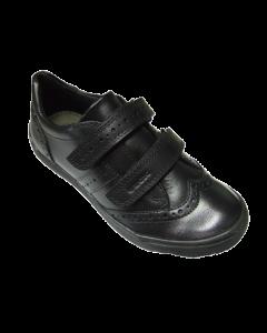 Geox Hadriel Black Leather School Shoes