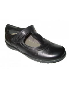 Geox Shadow Black Leather T-bar School Shoes