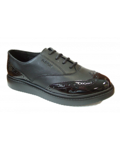 Geox Thymar Black Leather School Shoes