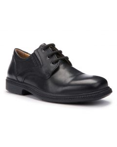 Geox Federico Black Leather Lace-up School Shoes