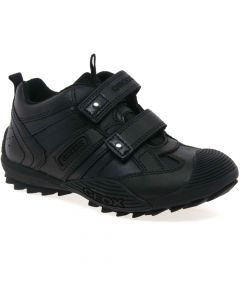Geox Savage Black Leather School Shoes