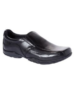 Hush Puppies Bespoke Black Leather Slip-on School Shoes