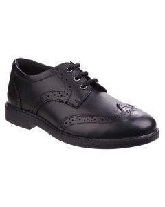 Hush Puppies Harry Black Leather Lace-Up School Shoes