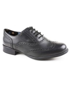 Hush Puppies Kada Black Leather Lace-up School Shoes