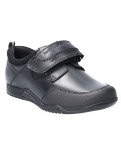 Hush Puppies Noah Black Leather School Shoes