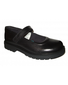 Hush Puppies Tally Black Leather School Shoes