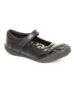 Hush Puppies Trea Black Leather School Shoes