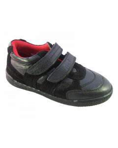 Pod Cain Black Leather School Shoes