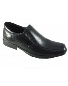 Pod Derby Junior Black Leather Sip-On School Shoes