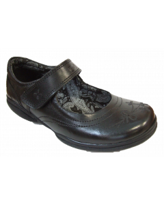 Pod Maddie Black Leather School Shoes