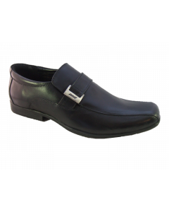 Pod Stirling Black Leather Slip-On School Shoes